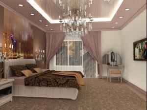 Дизайн спальни с комбинированным освещением