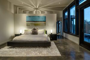 Глянцевый противоскользящий пол для отделки спальни