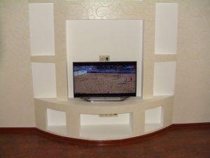 Готовый гипсокартонный короб для телевизора в спальню