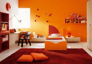 Идея для создания спальни в оранжевом тоне