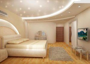 Идея обустройства звездного неба в спальне