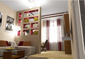 Интерьер спальни со стеллажной перегородкой