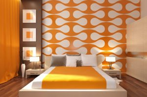 Как использовать оранжевый цвет в спальне
