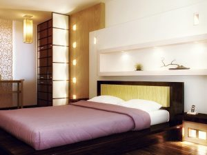 Кобинированный тип освещения спальни