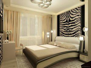Контрастный комбинированный пол в спальню