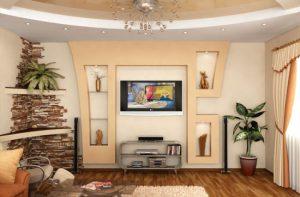 Красивый гипсокартонный короб в спальне под телевизор