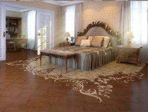 Красивый художественный паркет в спальне
