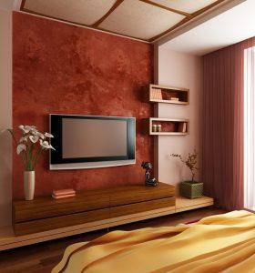 Куда поставить современный телевизор во время обустройства спальни