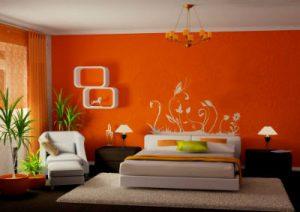 Насыщенная оранжевая спальня