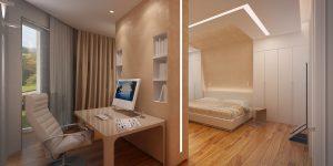 Обустройство просторной спальни с перегородкой