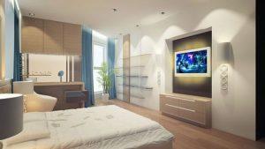 Оптимальное место для размещения телевизора в спальне