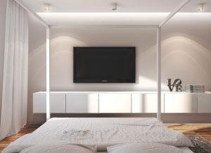 Основы выбора места, куда поставить телевизор в спальне