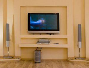 Практичный гипсокартонный короб под телевизор, сделанный в спальне