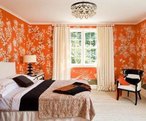 Правила оформления оранжевой спальни