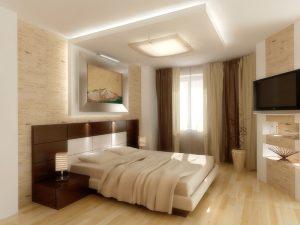 Приятный светлый паркет, уложенный в спальне