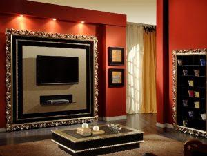Размещение телевизора в гипсокартонном коробе в спальне
