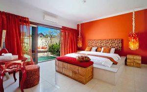 Роскошный интерьер спальни в оранжевых тонах