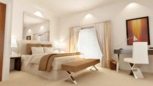 Спальня с разными источниками освещения