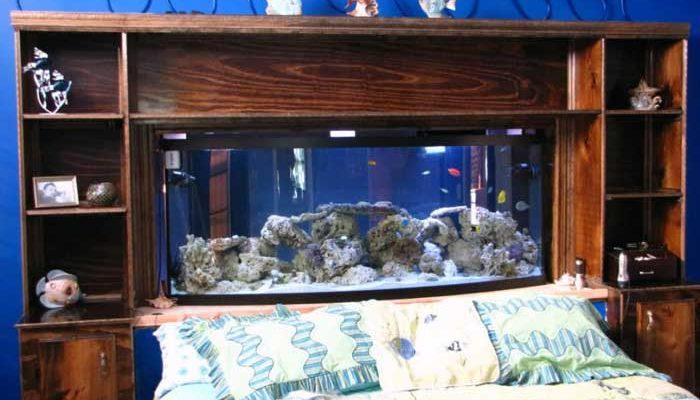 Установка аквариума около кровати в спальне