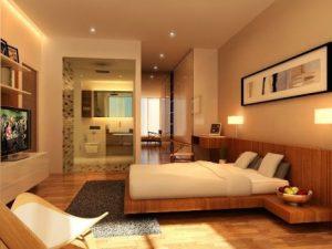 Вариант интерьера спальни с паркетным полом