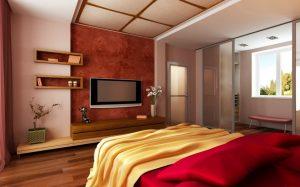 Вариант размещения телевизора в спальне
