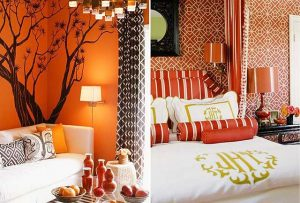 Варианты оформления оранжевых спален