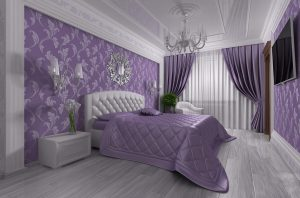 Интерьер спальни фиолетового цвета