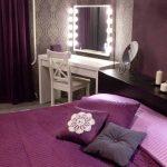 Правила оформления фиолетовой спальни